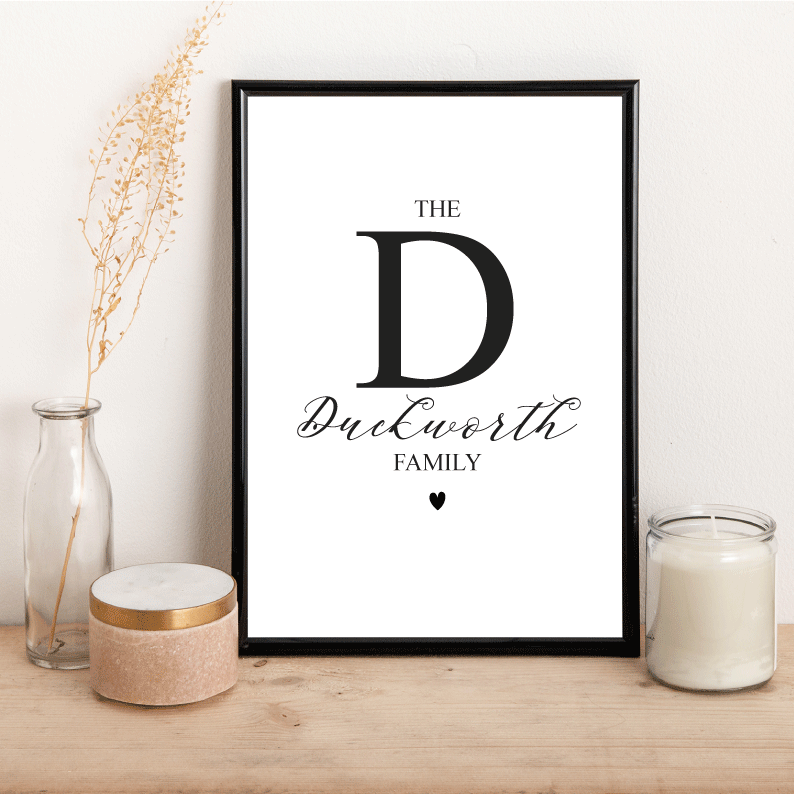 Personalised Family Initial - Alotta Style - Interior Prints and Posters