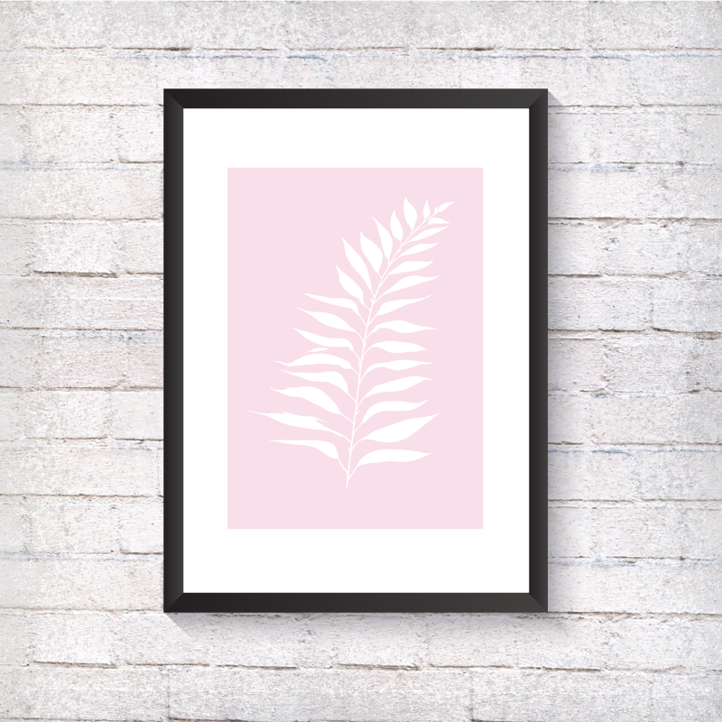 White Fern - Pink Background - Alotta Style - Interior Prints and Posters