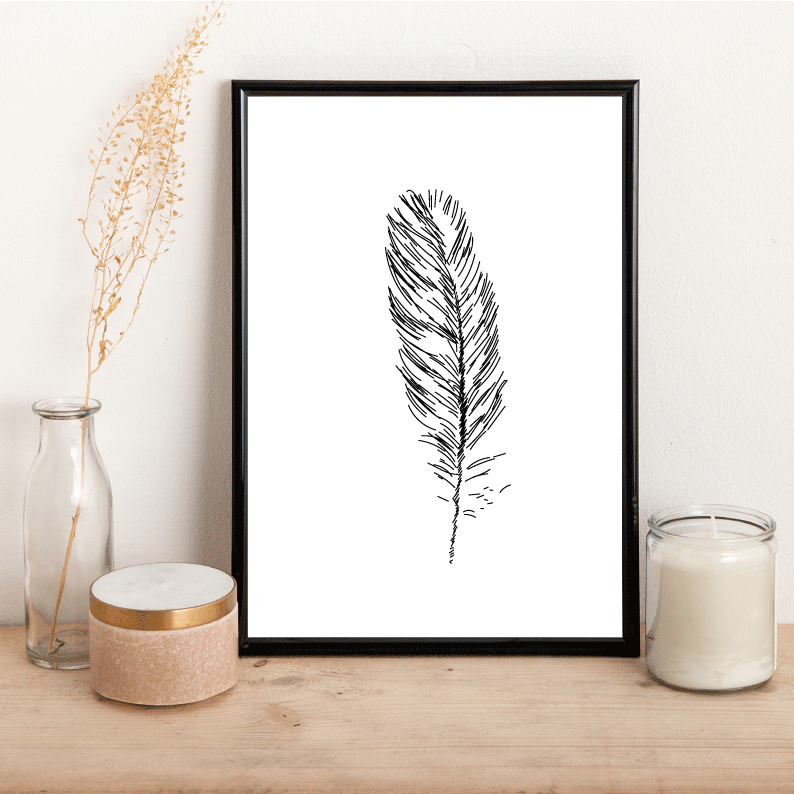 Feather Outline - Alotta Style - Interior Prints and Posters