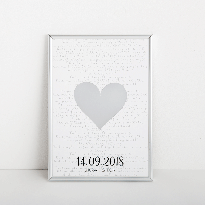 Personalised Mirror Frame - Wedding Lyrics