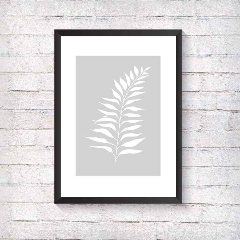 White Fern - Grey Background - Alotta Style - Interior Prints and Posters