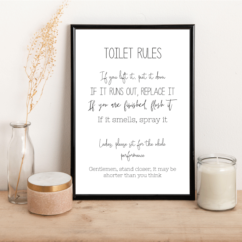 Toilet Rules - Alotta Style - Interior Prints and Posters