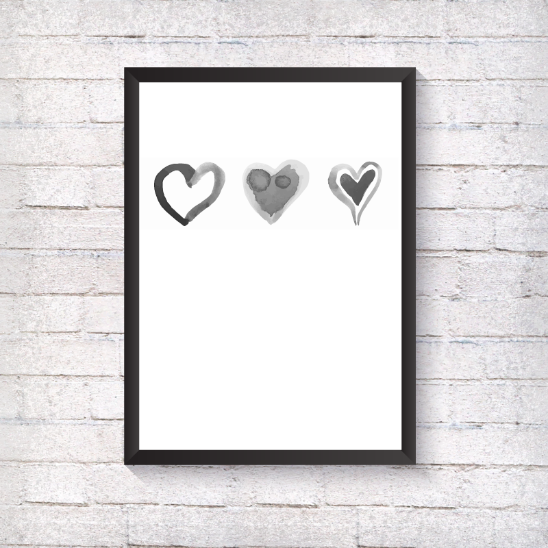 Watercolour 3 Grey Hearts - Alotta Style - Interior Prints and Posters