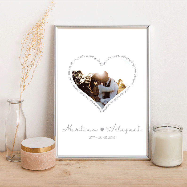 Wedding lyrics heart - Alotta Style - Interior Prints and Posters