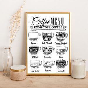 Coffee Menu - Alotta Style - Interior Prints and Posters