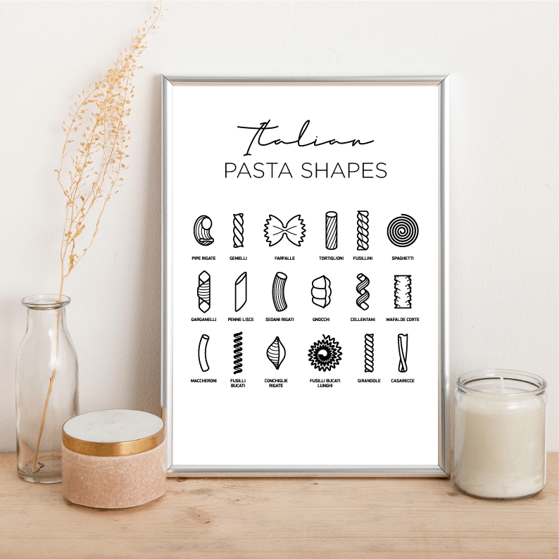 Italian Pasta Shapes - Alotta Style - Interior Prints and Posters