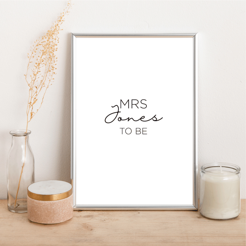 Personalised Mrs to be - Alotta Style - Interior Prints and Posters