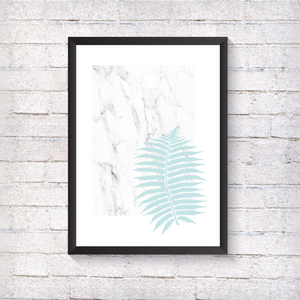Marble Blue Fern - Alotta Style - Interior Prints and Posters