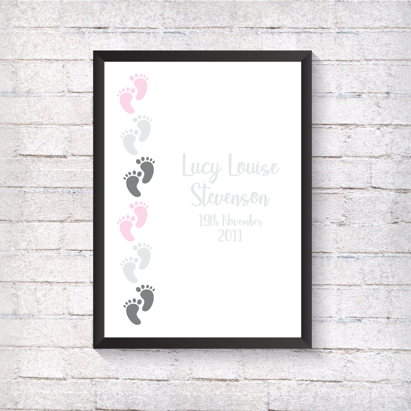 Footprint Name & Birthday - Alotta Style - Interior Prints and Posters