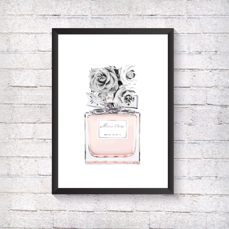 Grey Flower Bottle - Alotta Style - Interior Prints and Posters
