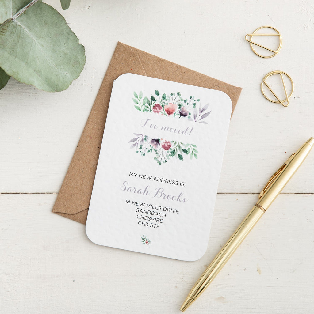Watercolour Floral New Address Card - Alotta Style - Interior Prints and Posters