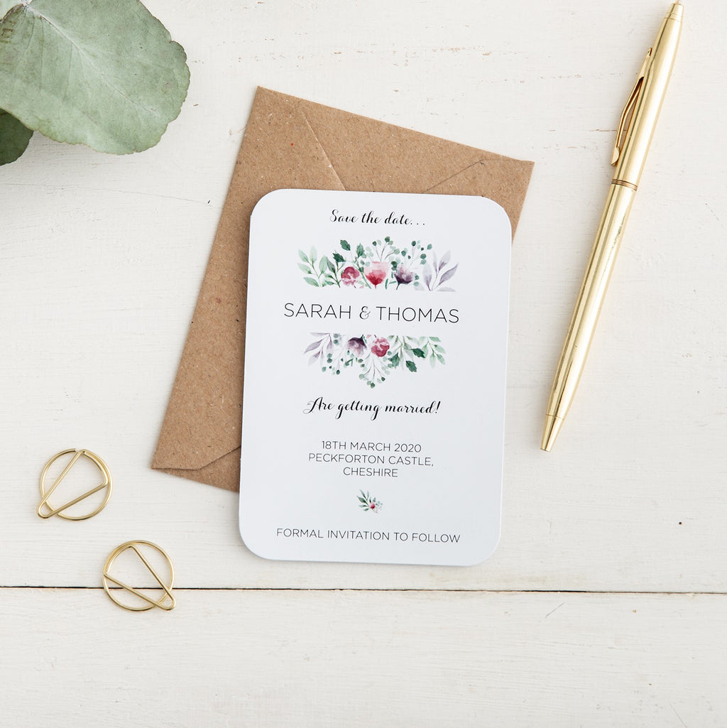 Watercolour Floral Save the Date - Alotta Style - Interior Prints and Posters