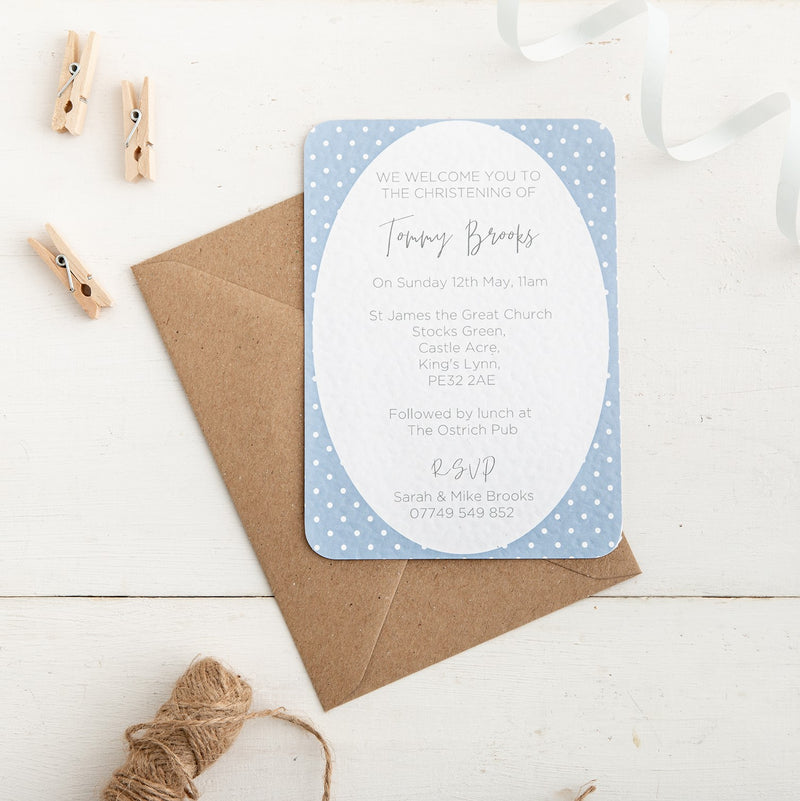 Blue Polka Dot Christening Invitation - Alotta Style - Interior Prints and Posters