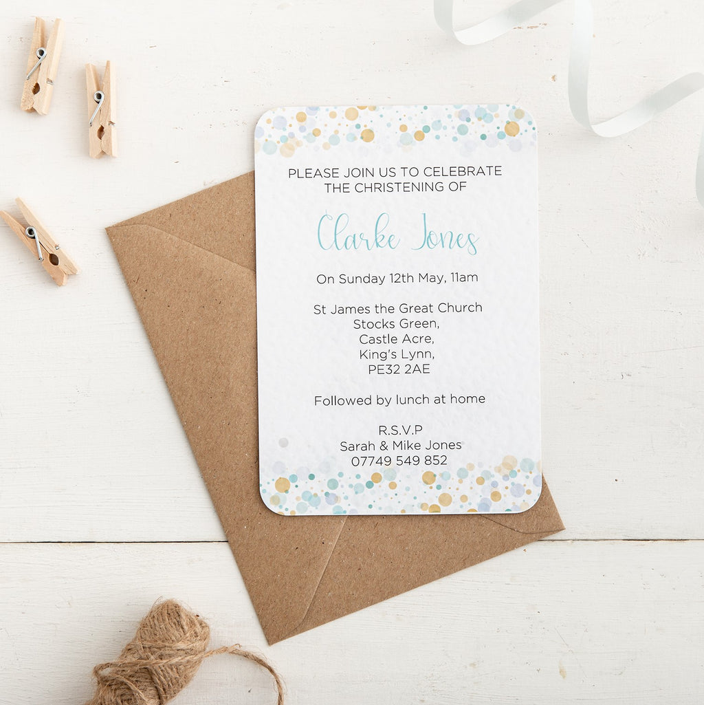 Blue Dot Christening Invitation - Alotta Style - Interior Prints and Posters