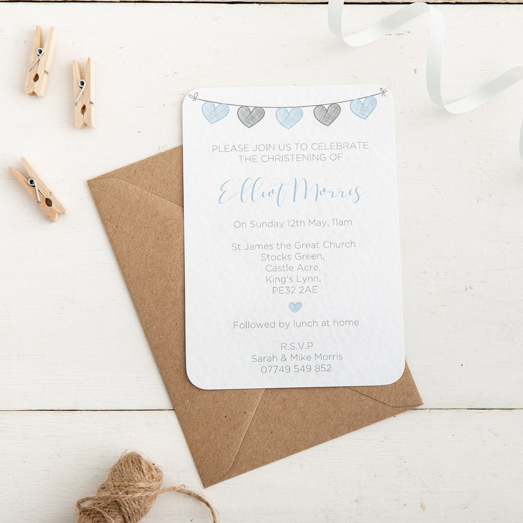 Blue and Grey Heart Bunting Christening Invitation - Alotta Style - Interior Prints and Posters