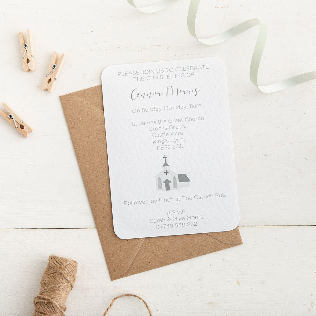 Grey Church Christening Invitation - Alotta Style - Interior Prints and Posters