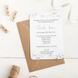 Grey Dot Christening Invitation - Alotta Style - Interior Prints and Posters