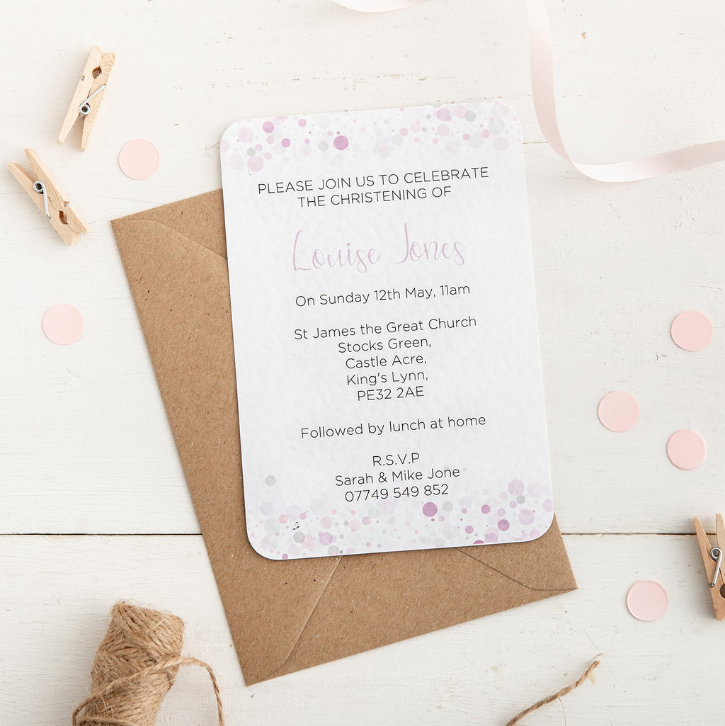 Pink Dot Christening Invitation - Alotta Style - Interior Prints and Posters