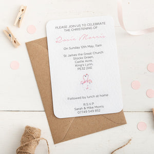 Flamingo Christening Invitation - Alotta Style - Interior Prints and Posters