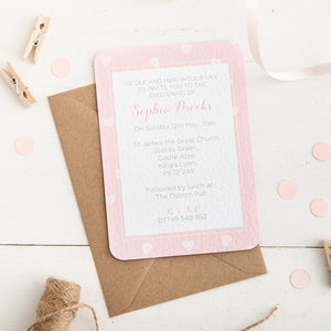 Pink Heart Christening Invitation - Alotta Style - Interior Prints and Posters