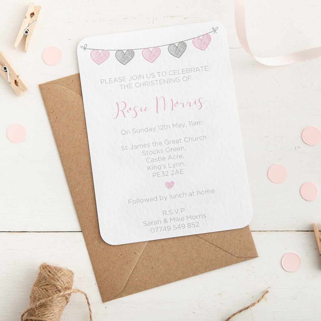 Pink and Grey Heart Bunting Christening Invitation - Alotta Style - Interior Prints and Posters