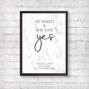 He asked & she said yes - Alotta Style - Interior Prints and Posters