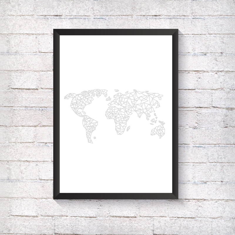 Geometric World Map - Alotta Style - Interior Prints and Posters