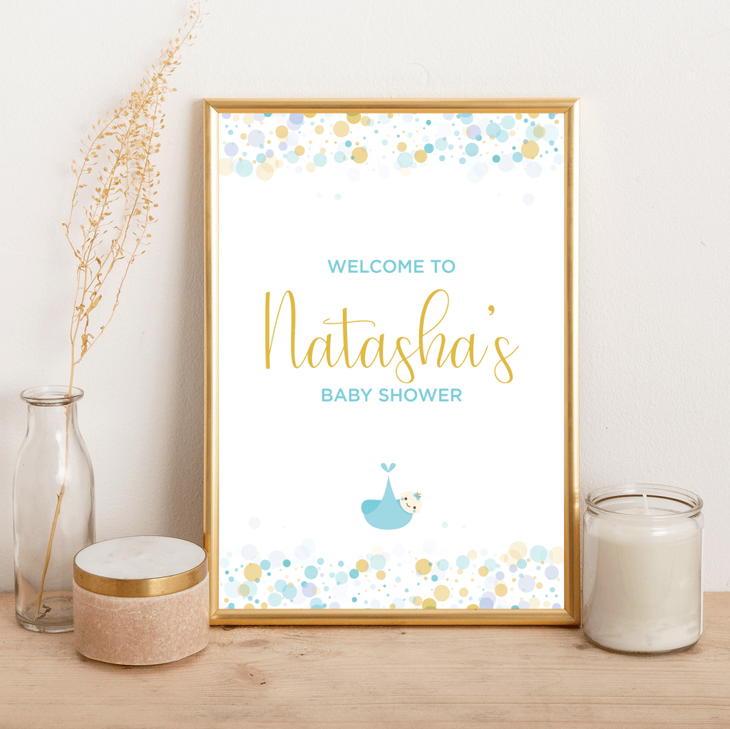 Blue Baby Shower - Welcome - Alotta Style - Interior Prints and Posters