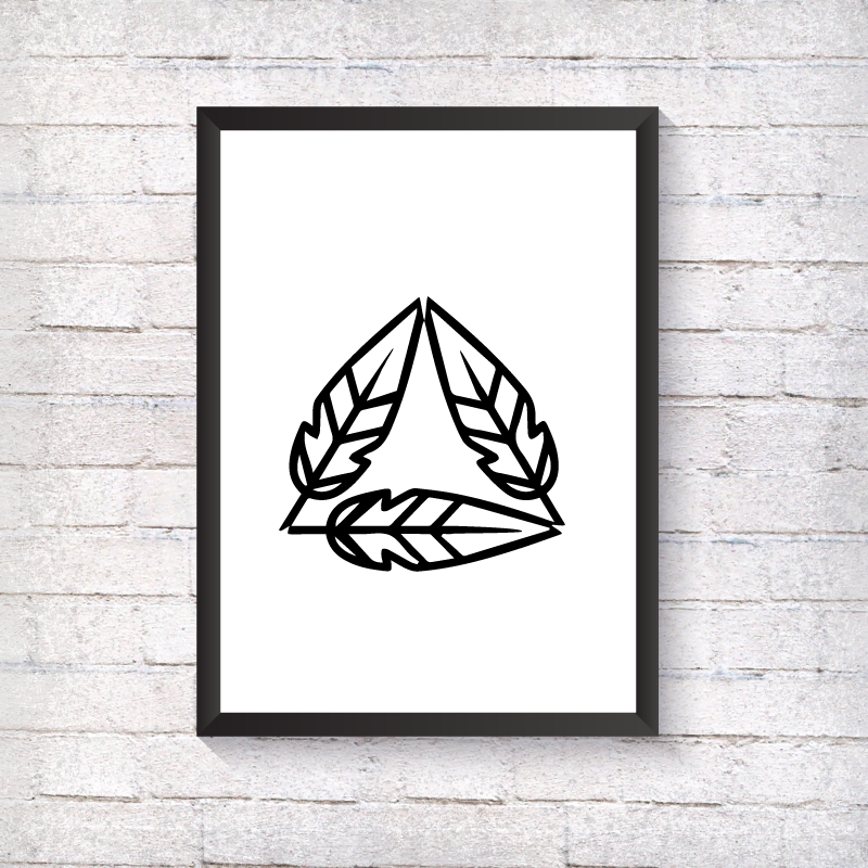 GEO Single Feather Triangle - Alotta Style - Interior Prints and Posters