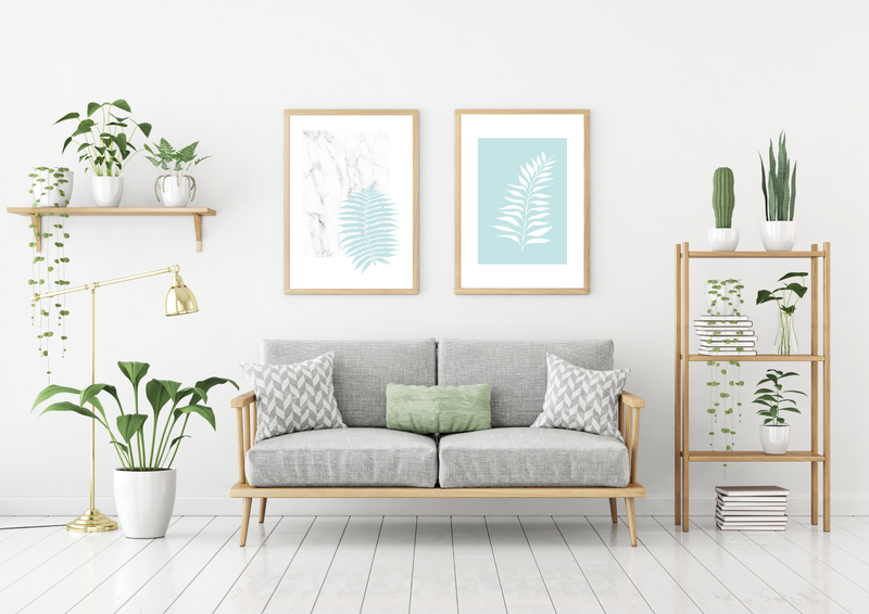 Blue Ferns - Marble - Alotta Style - Interior Prints and Posters