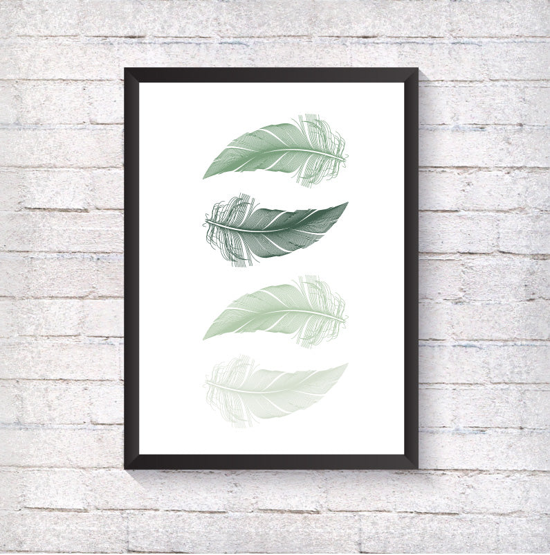 Green Feathers - Alotta Style - Interior Prints and Posters