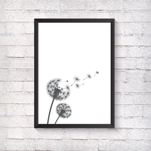 Grey Flowers and Grey Dandelion - Alotta Style - Interior Prints and Posters