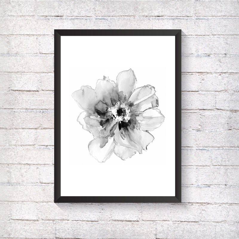 Watercolour Grey Flower - Alotta Style - Interior Prints and Posters