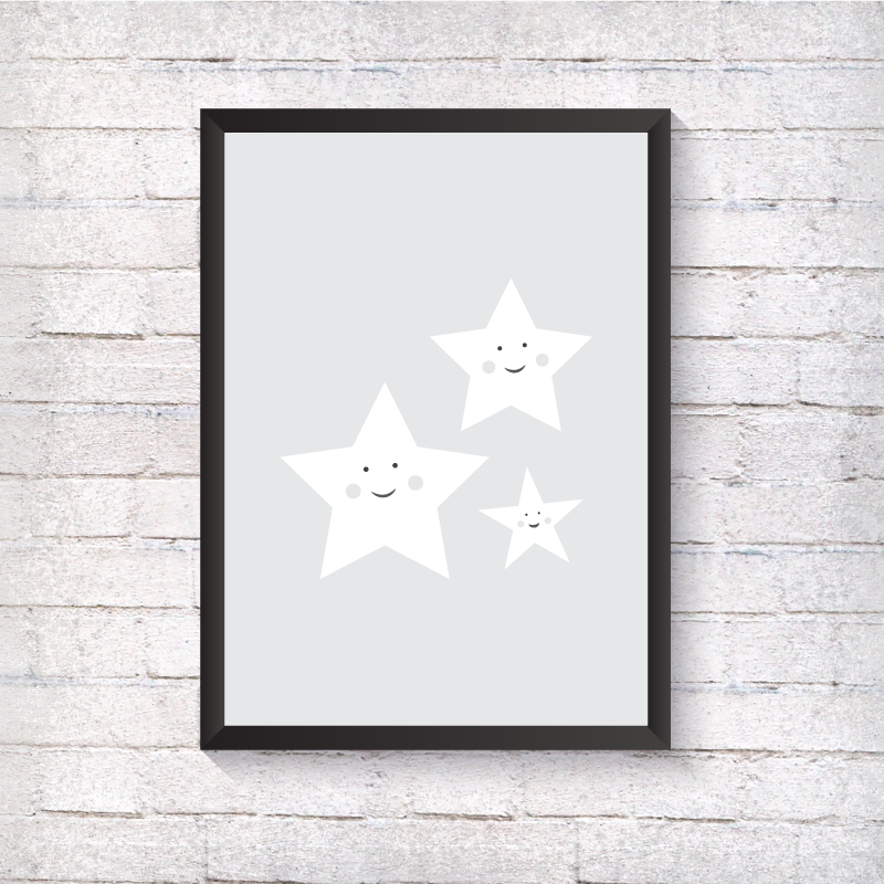 Grey Smile Stars - Alotta Style - Interior Prints and Posters