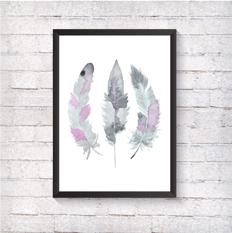 Watercolour Grey Feathers - Alotta Style - Interior Prints and Posters