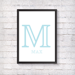 Nursery Letter - Blue - Alotta Style - Interior Prints and Posters