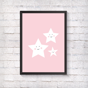 Pink Smile Stars - Alotta Style - Interior Prints and Posters