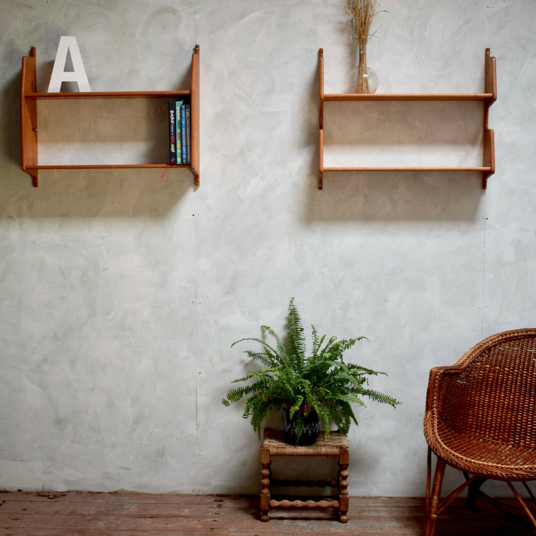 Pair Of Wall Mounted Mid-Century Pine Shelves