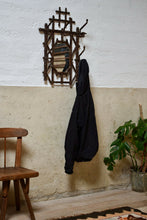 Antique French Faux Bamboo Wall Mounted Mirror Coat Hooks Hat Stand