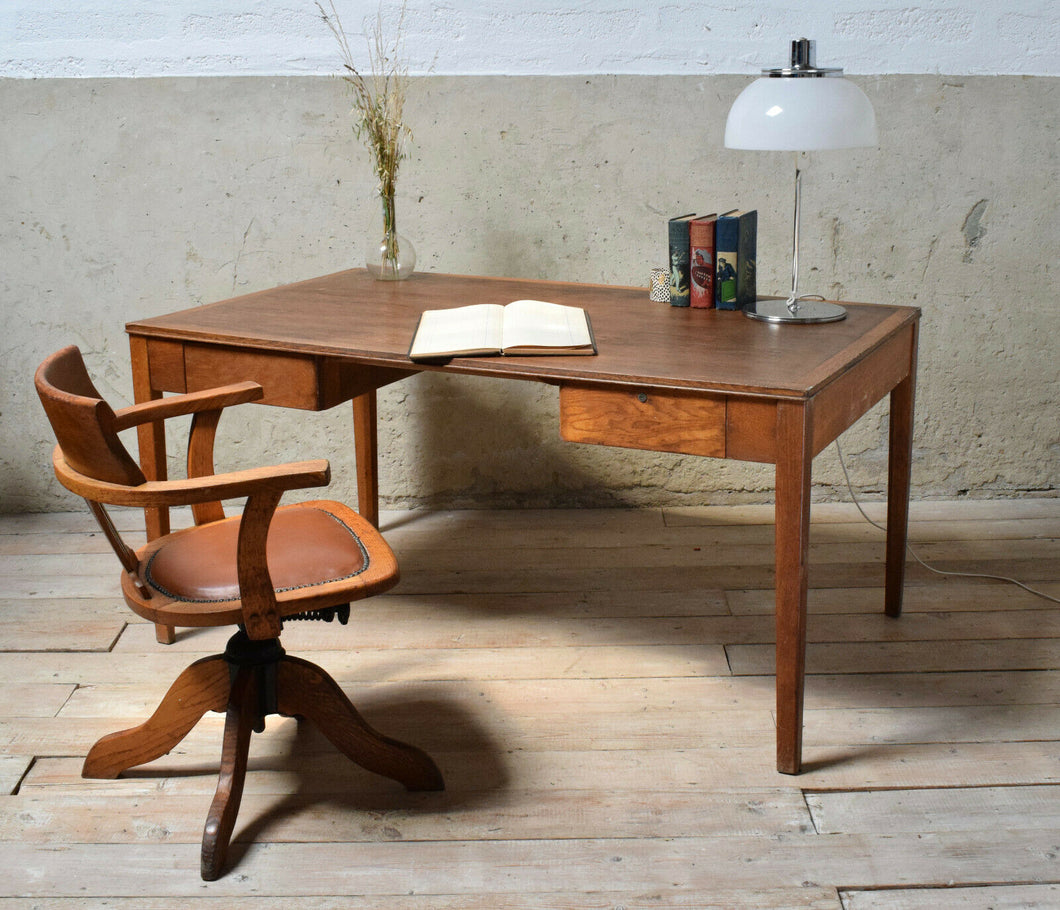 Vintage Oak Desk With Matching Captain Desk Chair