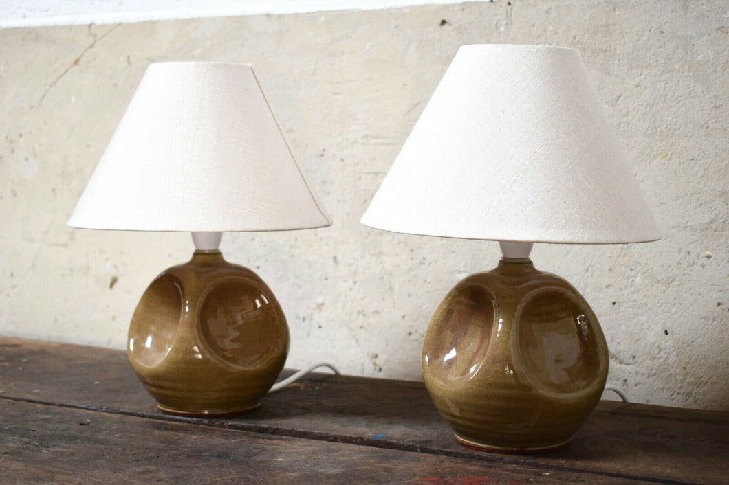 Pair Of Mid-Century Perranporth Bolingey Pottery Lamps