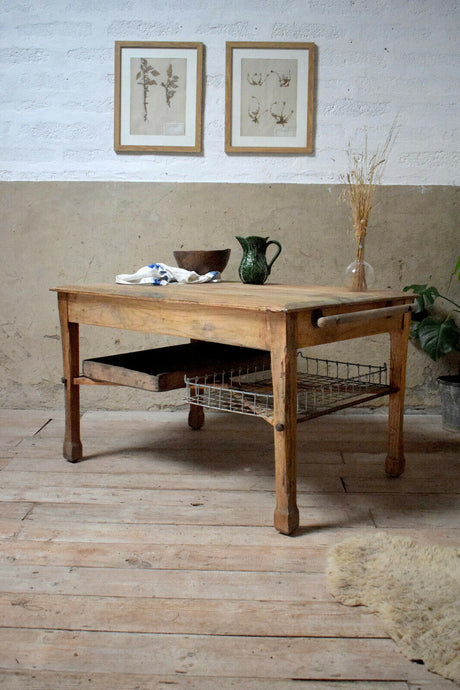 Antique Rustic Bakers Bread Prep Table