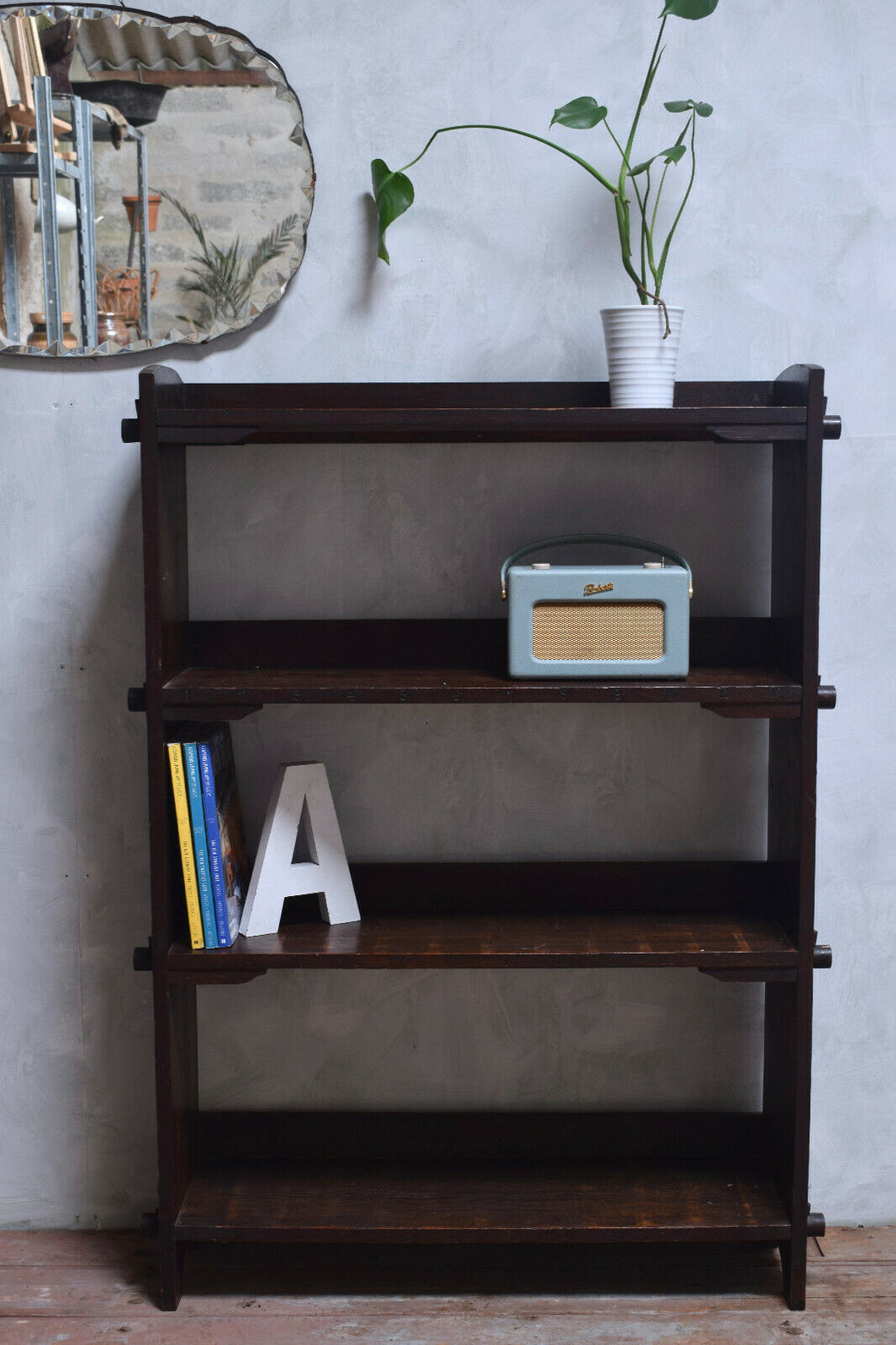 Antique Arts And Crafts Oak Shelving Unit With Peg Fixings