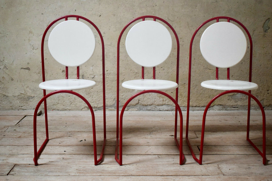 Postmodernist Tubular Steel Stacking Chairs Vintage