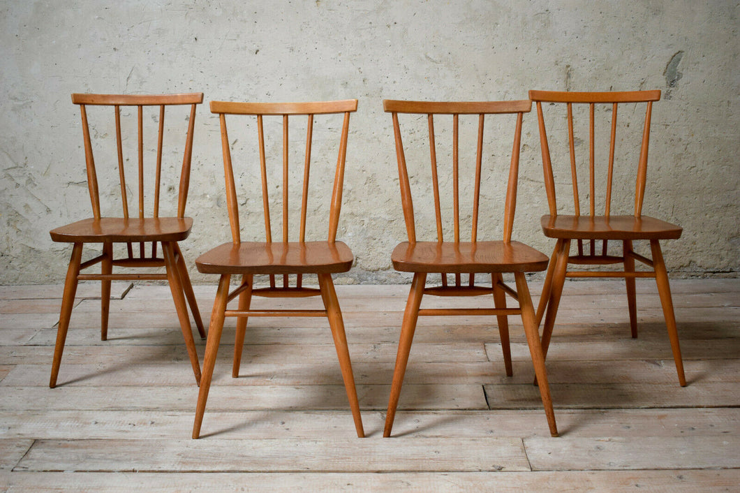 4 Vintage Ercol 391 All Purpose Blonde Chairs