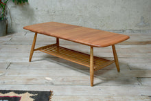 Vintage Mid Century Blonde Ercol Coffee Table With Magazine Rack