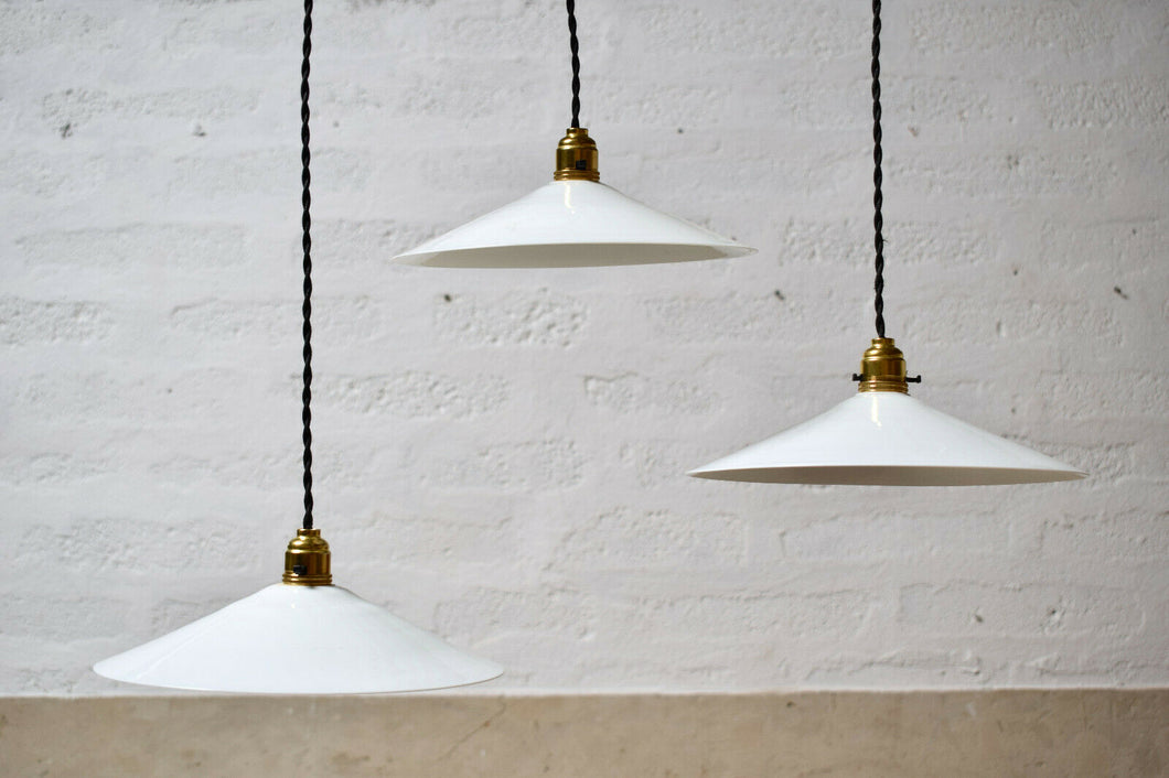 French Mid Century Vintage White Pendant Disc Light Shade