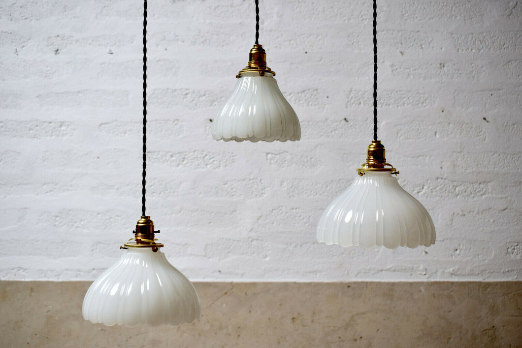Antique Milk Glass Edwardian Pendant Light Shade