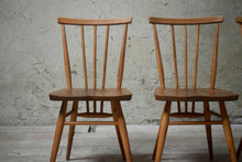 Vintage Ercol All Purpose Stick Back Blonde Elm Dining Chairs Set of 4- Blue Lab