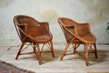 Pair Of Vintage Cane Wicker Tub Chairs